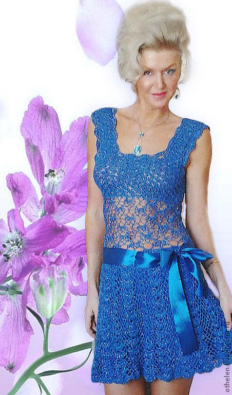 """Платья ручной работы. Ярмарка Мастеров - ручная работа. Купить платье """"Красотка"""". Handmade. Вязаное ажурное платье, ажурное платье"""