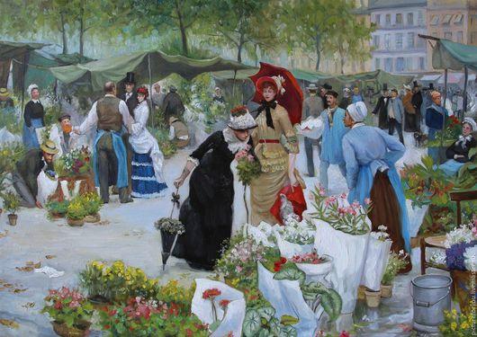Город ручной работы. Ярмарка Мастеров - ручная работа. Купить Парижский базар. Handmade. Комбинированный, цветочный букет, картина для интерьера