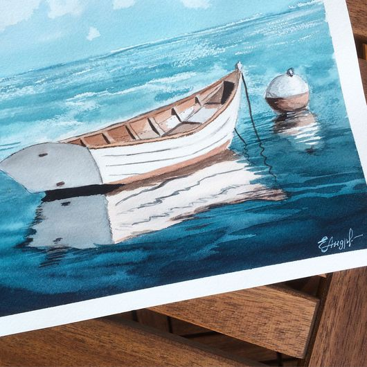 Пейзаж ручной работы. Ярмарка Мастеров - ручная работа. Купить Бирюзовое море. Handmade. Лодка, море живопись, море
