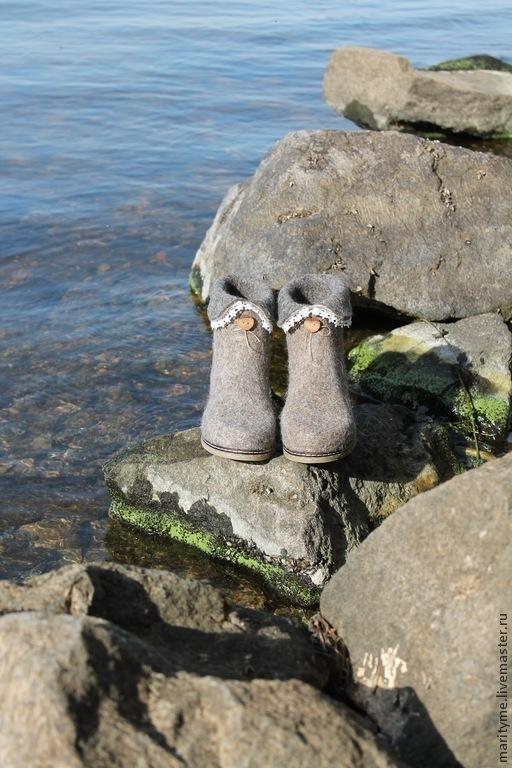 """Обувь ручной работы. Ярмарка Мастеров - ручная работа. Купить Валяные полусапожки """"Анита"""". Handmade. Серый, войлок"""
