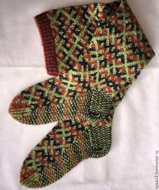 Комплекты аксессуаров ручной работы. Ярмарка Мастеров - ручная работа. Купить Чулки северные. Handmade. Зеленый, носки, носки вязаные