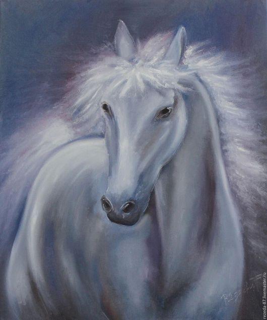 Животные ручной работы. Ярмарка Мастеров - ручная работа. Купить Картина маслом лощадь на розово-голубом фоне. Handmade. Серый