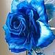 """Броши ручной работы. Ярмарка Мастеров - ручная работа. Купить Шелковая роза """"Ирэн"""". Цветы из ткани.. Handmade. Тёмно-синий"""
