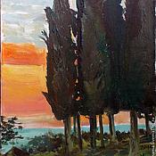 Картины и панно ручной работы. Ярмарка Мастеров - ручная работа Картина. Абхазия. Вечерние кипарисы. Handmade.