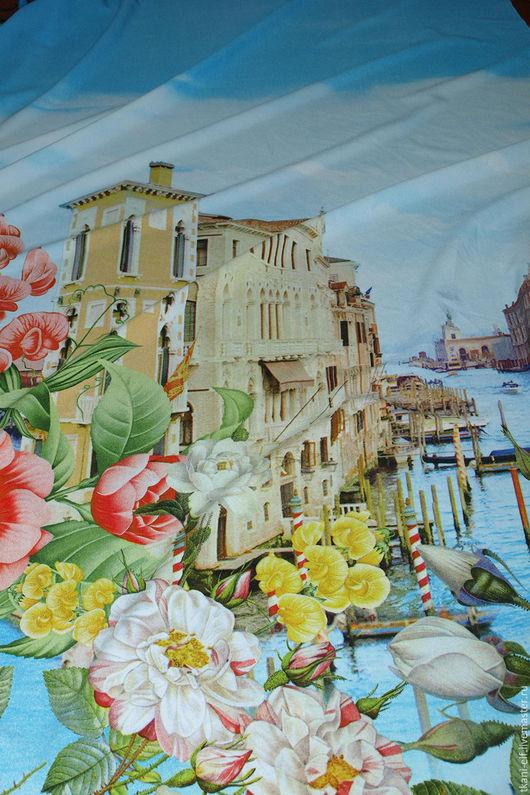 """Шитье ручной работы. Ярмарка Мастеров - ручная работа. Купить Ткань плательная вискоза со спандексом """"город-цветов"""". Handmade."""