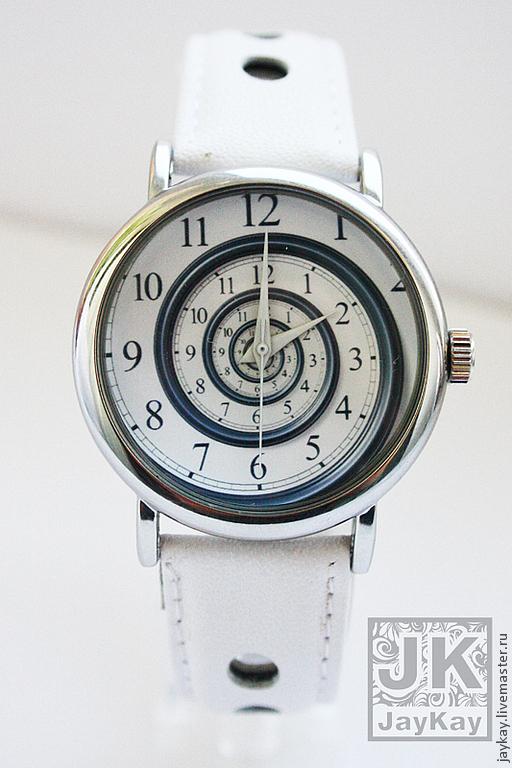 """Часы ручной работы. Ярмарка Мастеров - ручная работа. Купить Часы наручные JK """"Спираль"""". Handmade. Белый, подарок мужчине"""