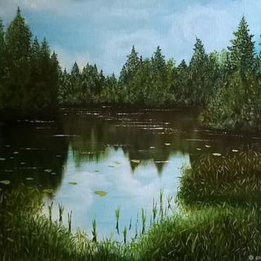 Картины и панно ручной работы. Ярмарка Мастеров - ручная работа Озеро лесное. Handmade.