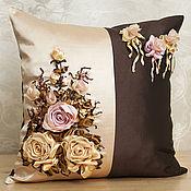 Для дома и интерьера ручной работы. Ярмарка Мастеров - ручная работа Подушка вышитая лентами - Шоколад. Handmade.