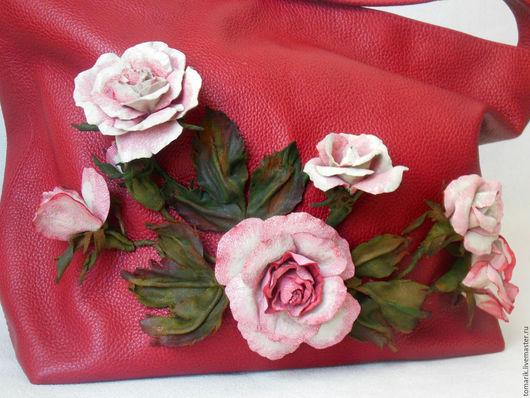 Женские сумки ручной работы. Ярмарка Мастеров - ручная работа. Купить сумка РОЗЫ из натуральной кожи. Handmade. Ярко-красный