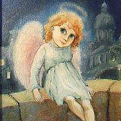 Картины и панно handmade. Livemaster - original item Angel and the city art print Reproduction of the picture. Handmade.