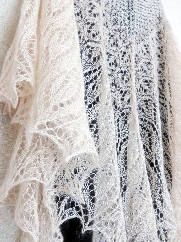 Openwork down shawl knitted Shawl spokes of mohair white ivory, Shawls, Kazan,  Фото №1