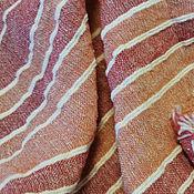 Ткани ручной работы. Ярмарка Мастеров - ручная работа Плательный фактурный лен в полоску,цвет оранжево-красный. Handmade.