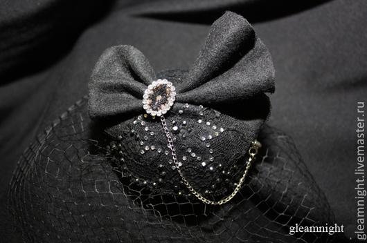Шляпы ручной работы. Ярмарка Мастеров - ручная работа. Купить Вечерняя мини-шляпка - бант. Handmade. Черный, вечерняя шляпка