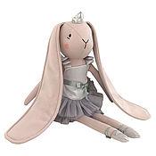 Куклы и пупсы ручной работы. Ярмарка Мастеров - ручная работа Зайчик-балерина в сером платье. Handmade.