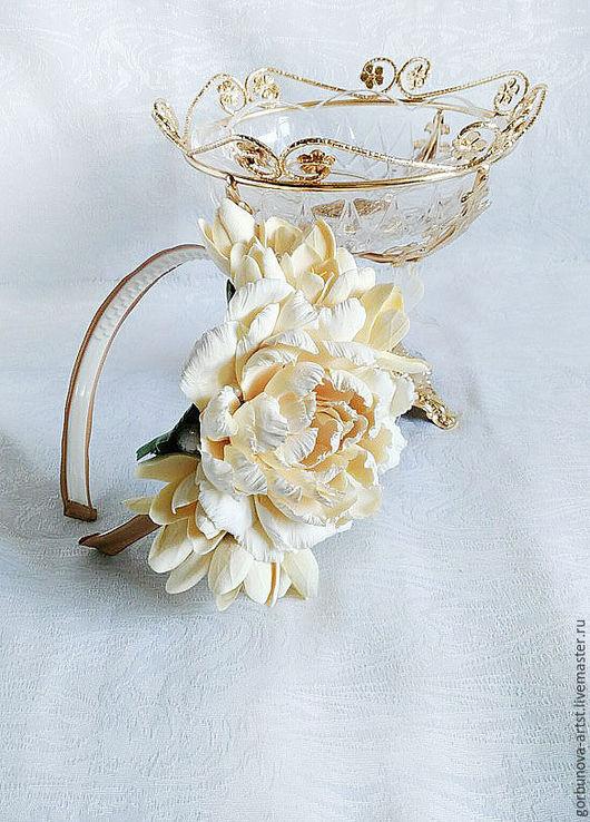 Авторское украшение в прическу, украшение корона из цветов.