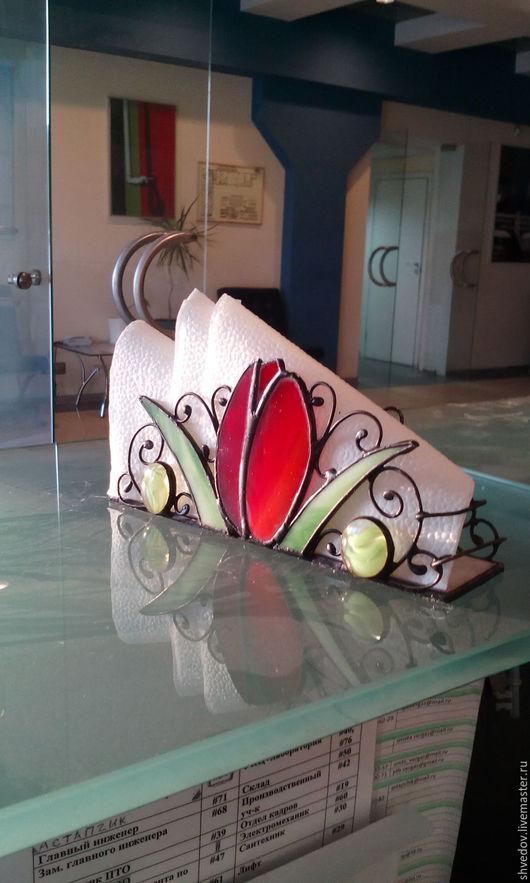 Элементы интерьера ручной работы. Ярмарка Мастеров - ручная работа. Купить салфетница витражная тюльпан. Handmade. Комбинированный, витражное стекло