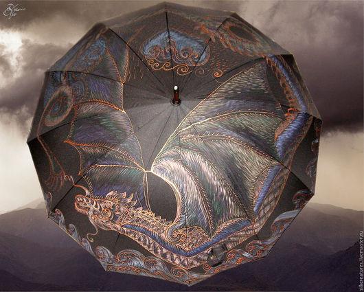 """Зонты ручной работы. Ярмарка Мастеров - ручная работа. Купить """"Дракон"""" зонт с авторским рисунком на заказ ручная роспись. Handmade."""