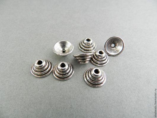 Шапочка для бусин цвет античное серебро, размер 10*5 мм, отверстие 1,5 мм, материал - сплав металлов, не содержит никеля, кадмия, свинца (арт. 1811)