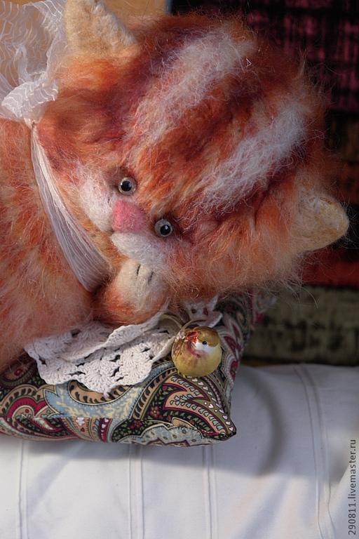 Коллекционные куклы ручной работы. Ярмарка Мастеров - ручная работа. Купить Кот птицелов. Handmade. Рыжий, авторская игрушка, мохер