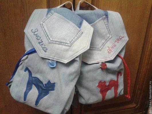 Рюкзачки с аппликацией и вышивкой.