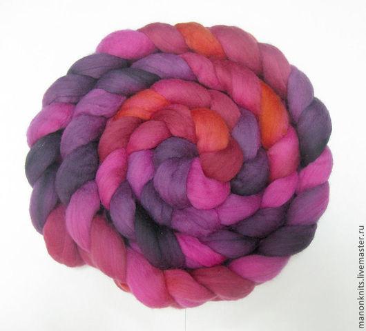 Вязание ручной работы. Ярмарка Мастеров - ручная работа. Купить Шерсть для валяния и прядения ручного крашения розово-сиренево-оранж. Handmade.