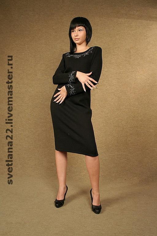 "Dresses handmade. Livemaster - handmade. Buy Knitted dress ""Office"".Handmade, bead embroidery, fancy dress, wool"