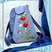 handmade. Livemaster - original item Denim backpack,