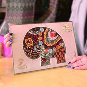 Картины и панно handmade. Livemaster - original item Smalt-puzzle «Mosaic Elephant Maroon». Handmade.