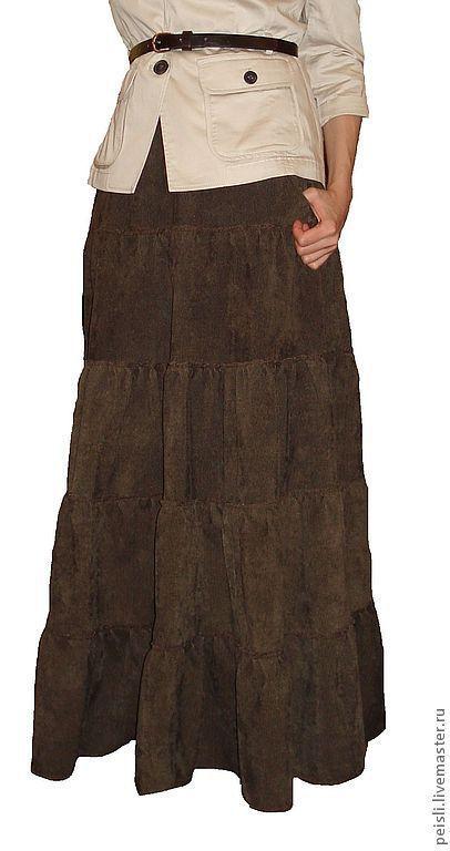 Юбки ручной работы. Ярмарка Мастеров - ручная работа. Купить Юбка длинная вельветовая ярусами. Handmade. Юбка в пол