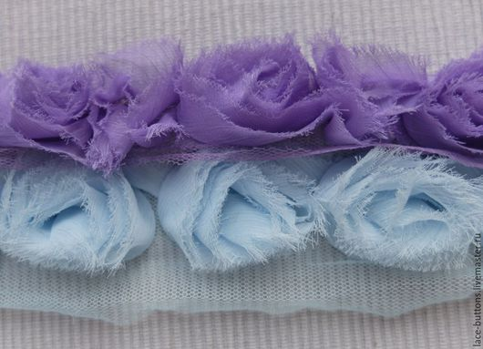 Шитье ручной работы. Ярмарка Мастеров - ручная работа. Купить Объемные цветы 4см (голубые, сиреневые). Handmade. Тесьма декоративная