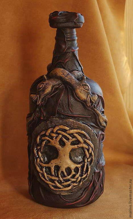 Декоративная посуда ручной работы. Ярмарка Мастеров - ручная работа. Купить кельтская бутылка. Handmade. Коричневый, готика, стекло