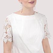 Одежда handmade. Livemaster - original item Short white cotton dress with lace. Handmade.