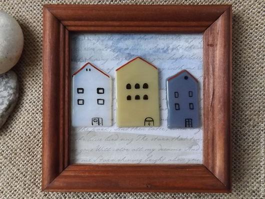 """Город ручной работы. Ярмарка Мастеров - ручная работа. Купить картина """"Утром"""". Handmade. Разноцветный, набережная, небо, домики, для интерьера"""