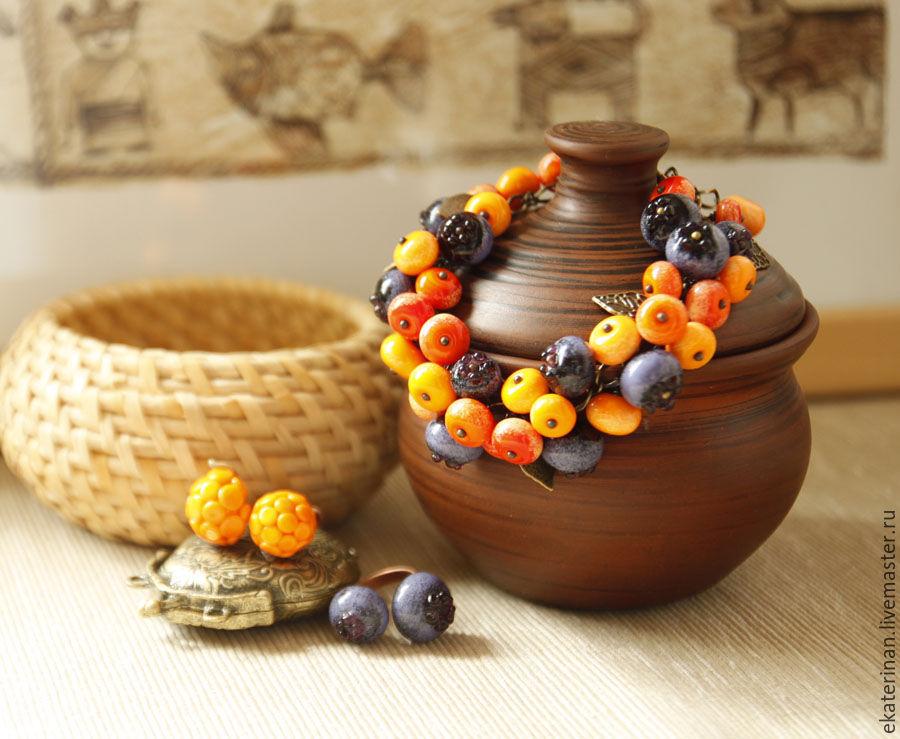 """Браслеты ручной работы. Ярмарка Мастеров - ручная работа. Купить Браслет """"Ягодный- витаминный"""". Handmade. Lampwork (лэмпворк), ягоды"""