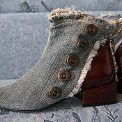 Обувь ручной работы. Ярмарка Мастеров - ручная работа Ботинки джинсовые комбинированные с бордовой кожей, 3см. каблук. Handmade.