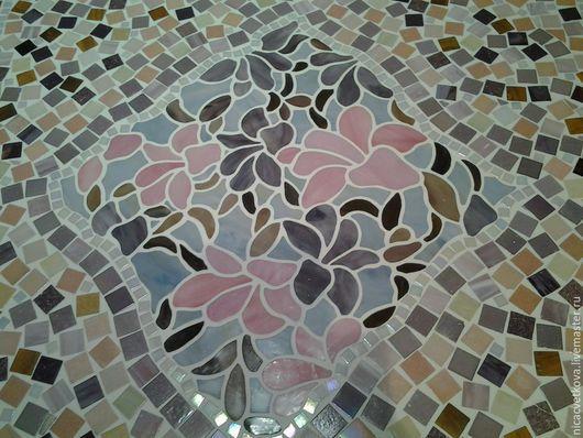 """Мебель ручной работы. Ярмарка Мастеров - ручная работа. Купить Стол  обеденный """"Орхидея"""", мозаика. Handmade. Бледно-розовый, затирка"""