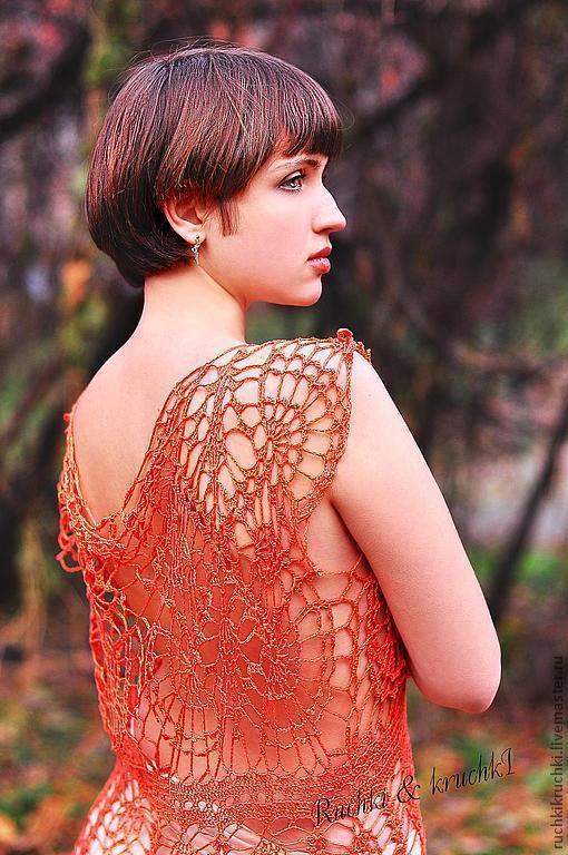 """Платья ручной работы. Ярмарка Мастеров - ручная работа. Купить Платье крючком """"Бабочка меднокрылая"""" из шелка ручной окраски. Handmade."""
