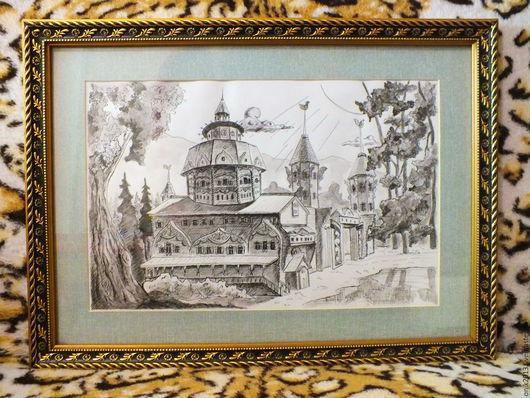 """Пейзаж ручной работы. Ярмарка Мастеров - ручная работа. Купить графика рисунок """"Врата в Беловодье"""". Handmade. Серый, графика в подарок"""