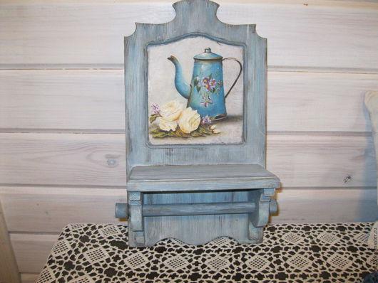 """Мебель ручной работы. Ярмарка Мастеров - ручная работа. Купить полочка держатель """"Прованс"""". Handmade. Голубой, прованс, деревянная заготовка"""