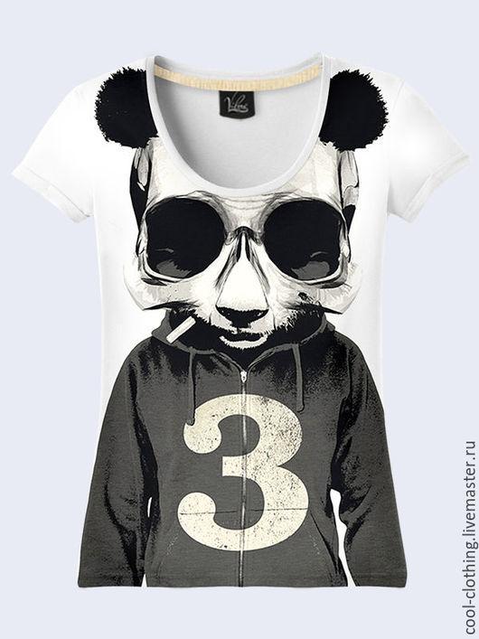 """Футболки, майки ручной работы. Ярмарка Мастеров - ручная работа. Купить Женская футболка """"Панда"""". Handmade. Рисунок, 3d изображение"""
