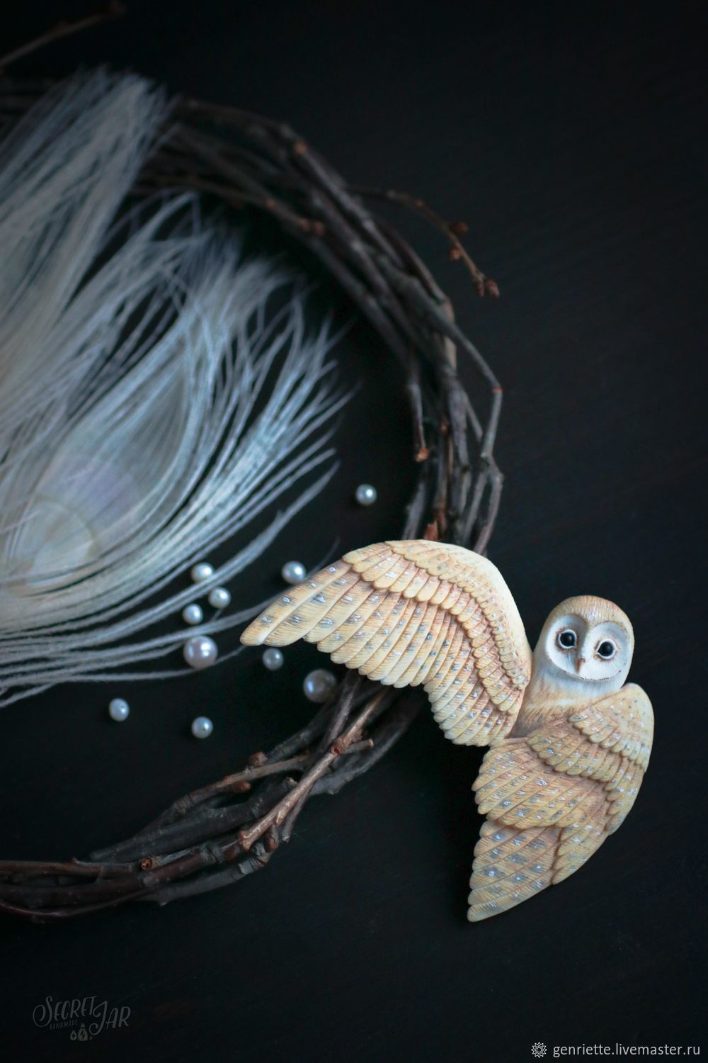 Brooch 'Owl' from polymer clay, Brooches, Moscow,  Фото №1