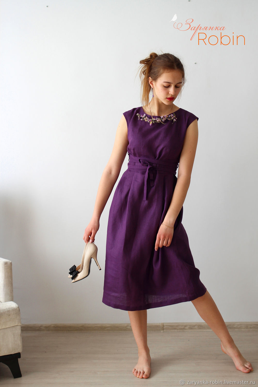 Платье Фиалка льняное, Платья, Орел,  Фото №1