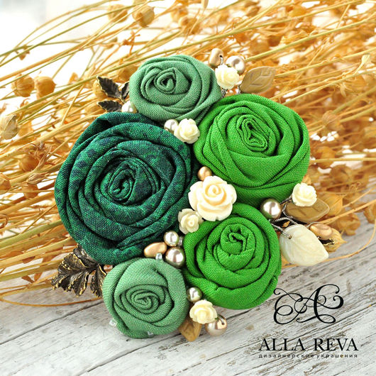 """Броши ручной работы. Ярмарка Мастеров - ручная работа. Купить Брошь """"Пахнет весной..."""". Handmade. Зеленый, цветы из ткани"""