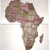 Пазлы, головоломки ручной работы. Ярмарка Мастеров - ручная работа Деревянный пазл «Карта мира». Handmade.