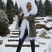Одежда handmade. Livemaster - original item Parka with a fur liner from white llamas hooded. Handmade.