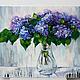 Картины цветов ручной работы. Сирень в прозрачной вазе. K&ART. Интернет-магазин Ярмарка Мастеров. Фуксия, зеленый, куст сирени