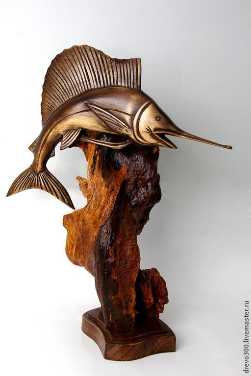 Статуэтки ручной работы. Ярмарка Мастеров - ручная работа. Купить Композиция Рыба - меч. Handmade. Коричневый, украшение интерьера, композиция