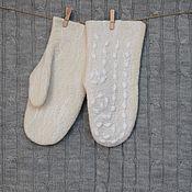 Аксессуары handmade. Livemaster - original item Felted mittens.Warm woolen mittens made of natural wool. Handmade.