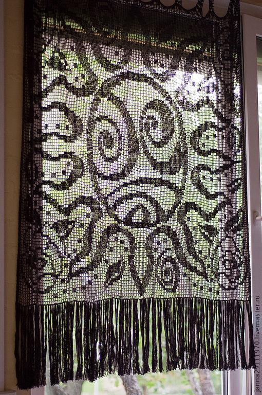 """Текстиль, ковры ручной работы. Ярмарка Мастеров - ручная работа. Купить Шторка """"В стиле Сальвадора Дали"""". Handmade. Коричневый"""