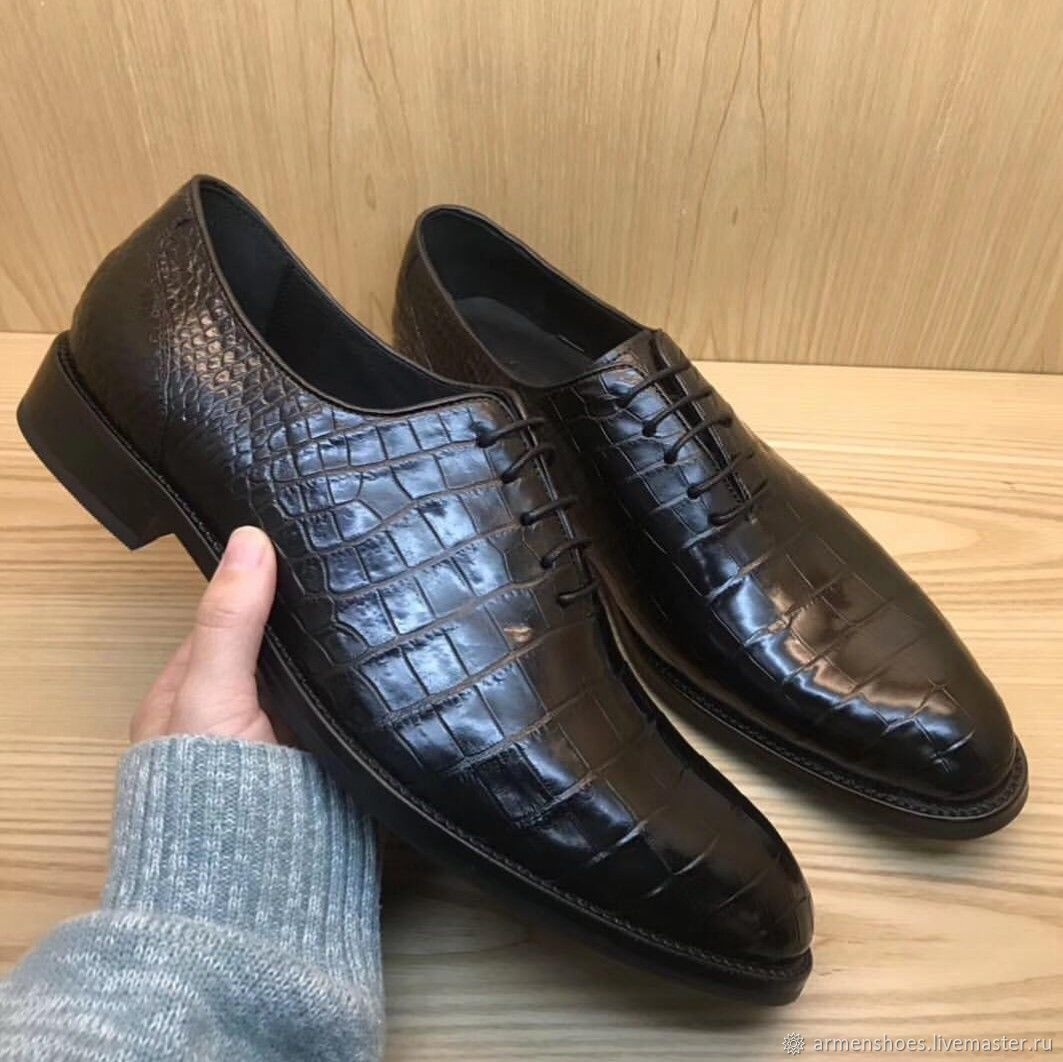 Men's shoes, classic, crocodile leather, in black, Shoes, Tosno,  Фото №1